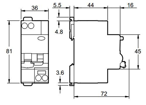 Размеры дифавтомата АД63 Домовой Schneider Electric