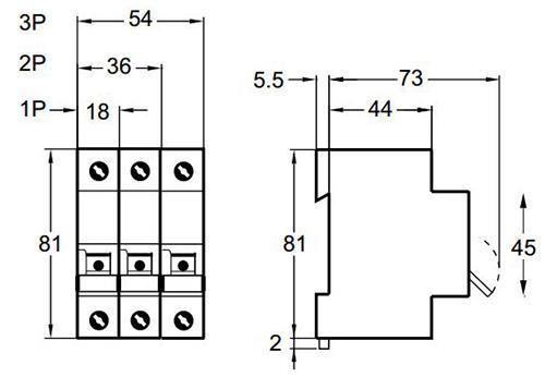 Размеры автоматического выключателя Schneider Electric ВА63 Домовой (мм)